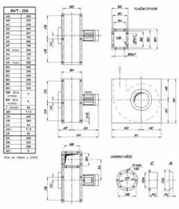 Mjerna skica srednjetlačnog centrifugalnog ventilatora NVT 200