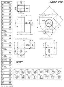 Mjerna skica NVT 560 srednjetlačnog centrifugalnog ventilatora s remenskim prijenosom