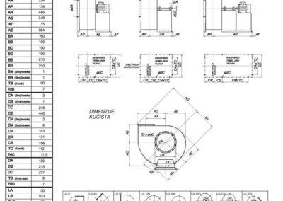 Mjerna skica srednjetlačnog centrifugalnog ventilatora SPV-180-011
