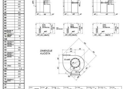 Mjerna skica srednjetlačnog centrifugalnog ventilatora SPV-200-011