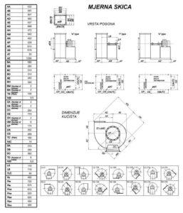 Mjerna skica srednjetlačnog centrifugalnog ventilatora SPV-315-011