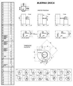 Mjerna skica srednjetlačnog centrifugalnog ventilatora SPV-500-011