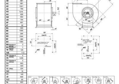 Mjerna skica srednjetlačnog centrifugalnog ventilatora SPV-560-021